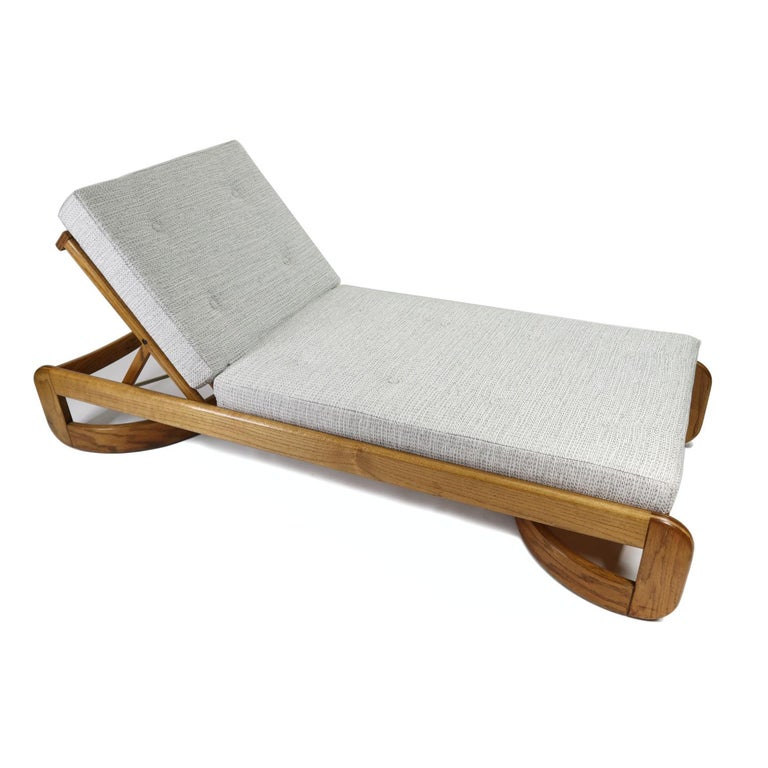 Fabric Howard Mid-Century Modern Restored Adjustable Chaise Lounge Daybed & Side Table