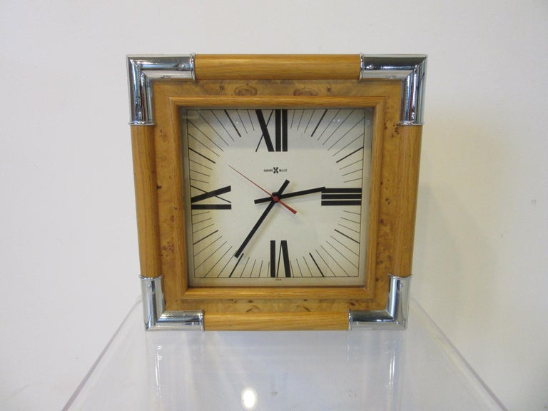 Howard Miller Burl / Chrome Wall Clock For Sale 3