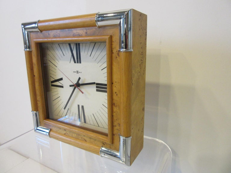 Modern Howard Miller Burl / Chrome Wall Clock For Sale