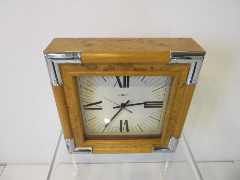 American Howard Miller Burl / Chrome Wall Clock For Sale