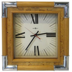 Howard Miller Burl / Chrome Wall Clock