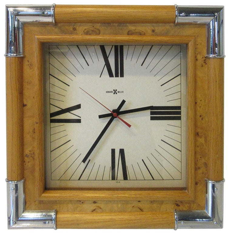 Howard Miller Burl / Chrome Wall Clock For Sale