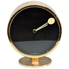 Howard Miller Classic Modern 1970s Desk Table Clock in Patinated Brass