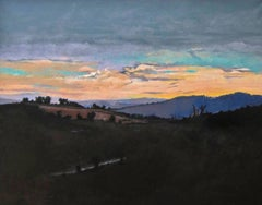 """""""Peimeinade Dusk"""", peach and violet setting sun in Southern France"""