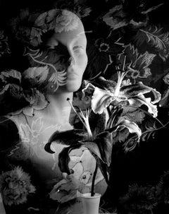 Lilies, manikin, floral fabric