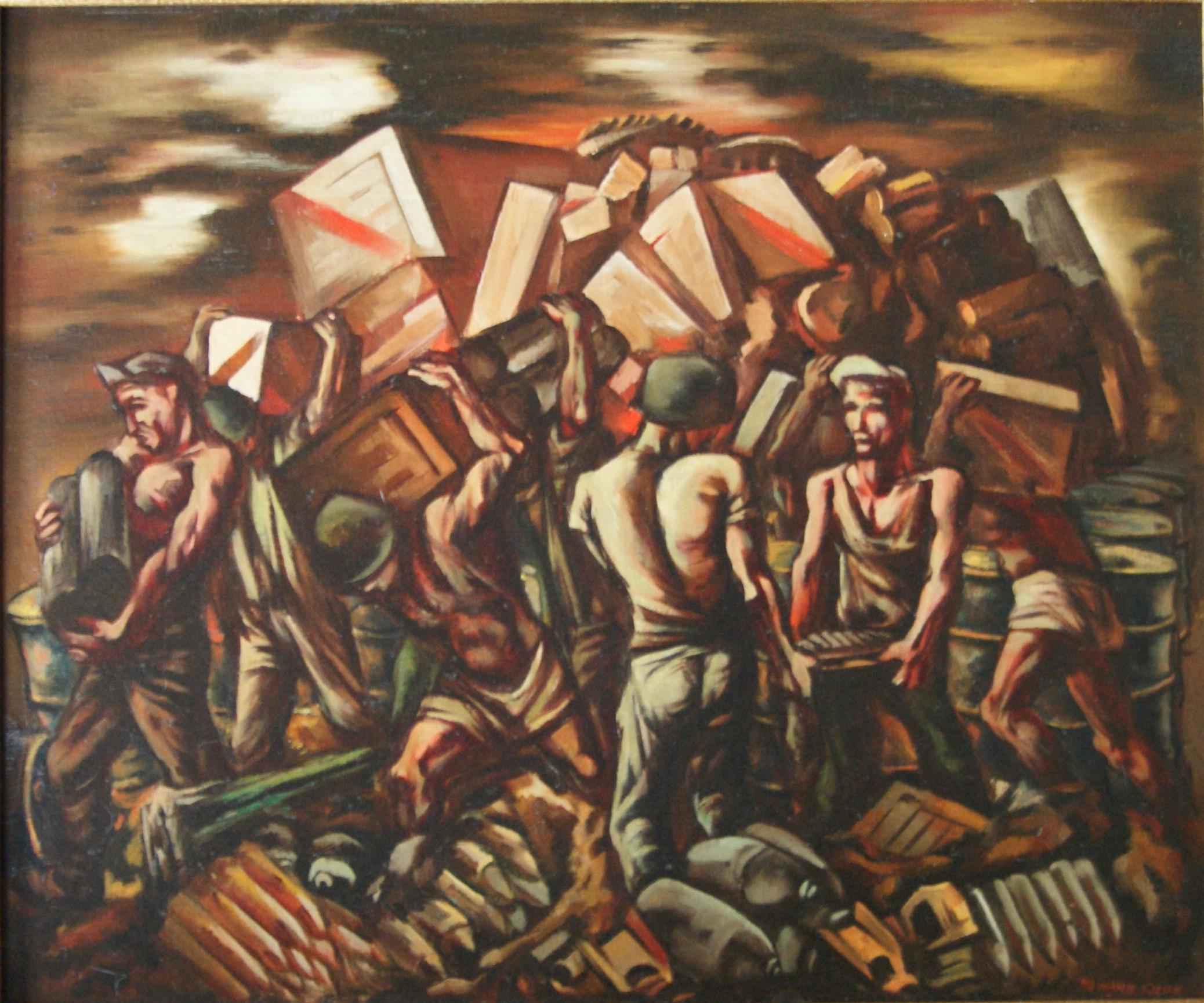 MILITARY MUNITIONS American Modernism WPA World War II Modern Realism Historical