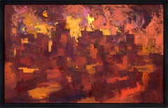 Taos Pueblo, Firelight, New Mexico, Semi Abstract Painting, Red Orange Yellow