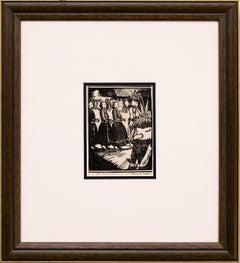 Ceremonial Dance, Hopi Kachina Dancers, Vintage 1926 Black & White Woodcut