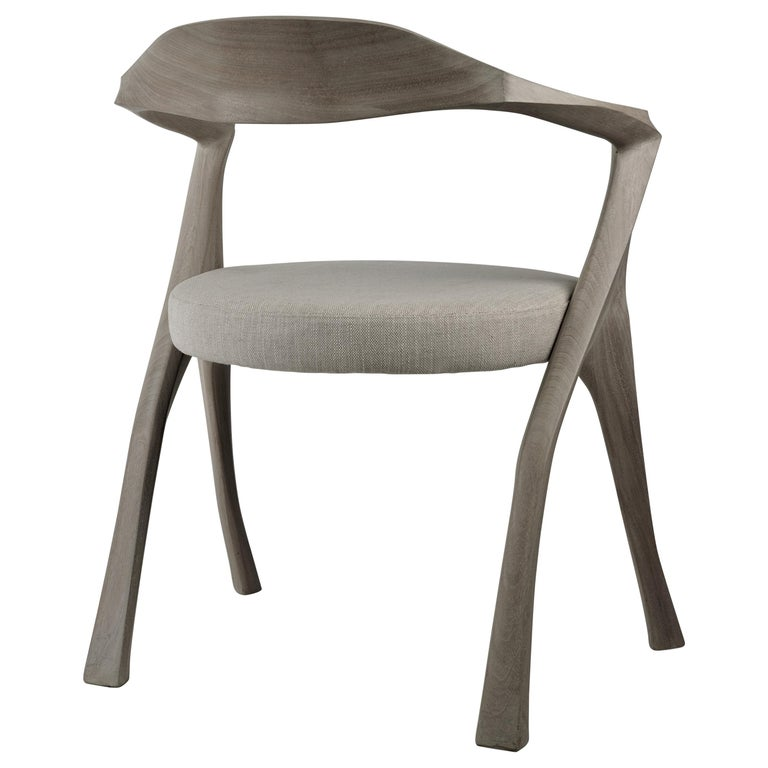 HOMAGE CHAIR- Sculptural, Carved Dining Armchair - Cerused Sapele Wood For Sale