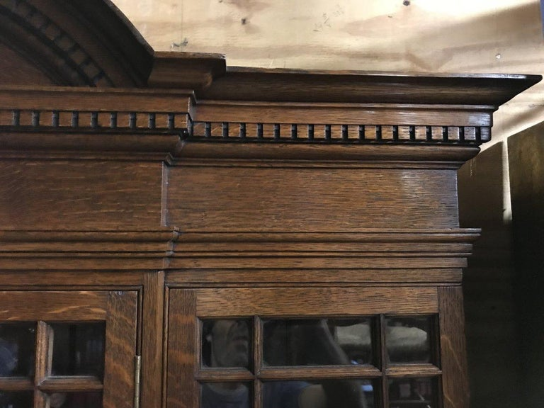 English Howard & Sons Arts & Crafts Queen Anne Revival Oak Breakfront Library Bookcase For Sale