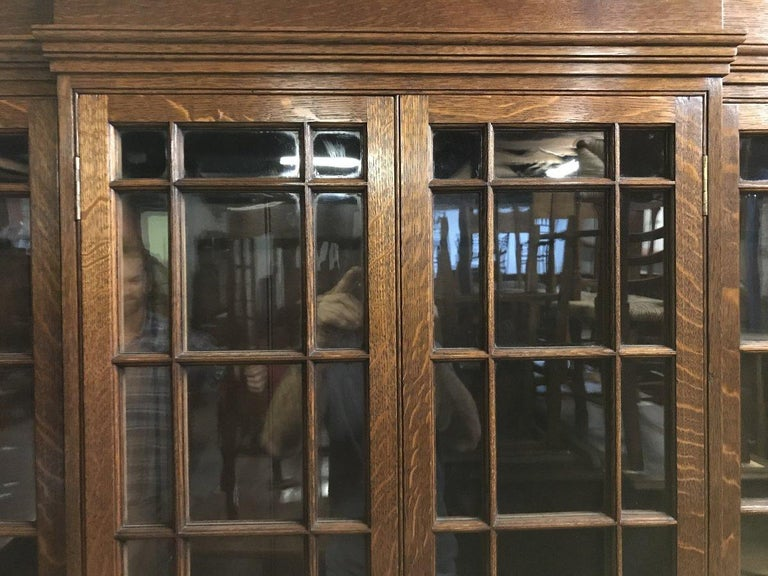 Hand-Crafted Howard & Sons Arts & Crafts Queen Anne Revival Oak Breakfront Library Bookcase For Sale