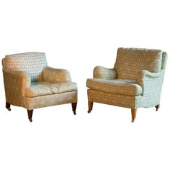 Howard & Sons Bridgewater & Amazone Armchairs Pair of by Lenygon & Morant