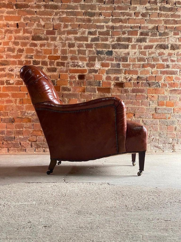 Howard & Sons Bridgewater armchair, 19th century, circa 1890  Sublime antique 19th century Howard & Sons deep seated Bridgewater leather button back armchair, England, circa 1890, this exceptional original Bridgewater armchair having been newly