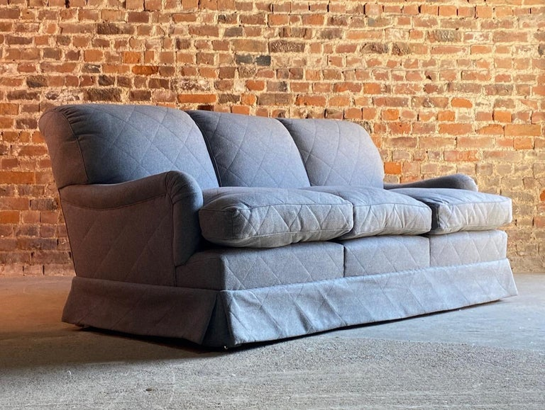 Howard & Sons Bridgewater sofa deep seated loose cushion bespoke 2014 number 2  Howard & Sons loose cushion deep seated Bridgewater sofa labelled to underside, the sofa is upholstered in the finest grey 100% wool upholstery, H&S Serial number