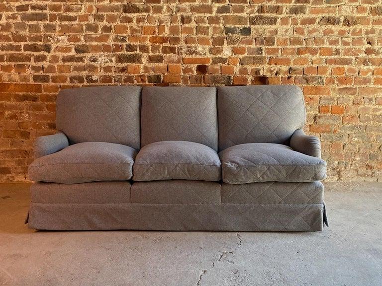 Victorian Howard & Sons Bridgewater Sofa Deep Seated Loose Cushion Bespoke 2014 Number 2 For Sale