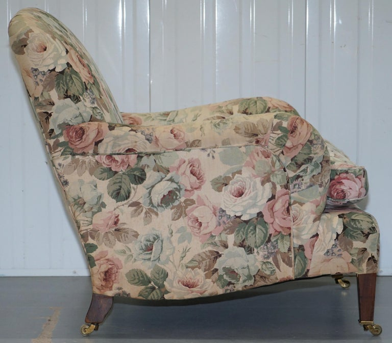 Howard & Son's Fully Stamped Original Victorian Walnut Armchair Original Castors For Sale 5