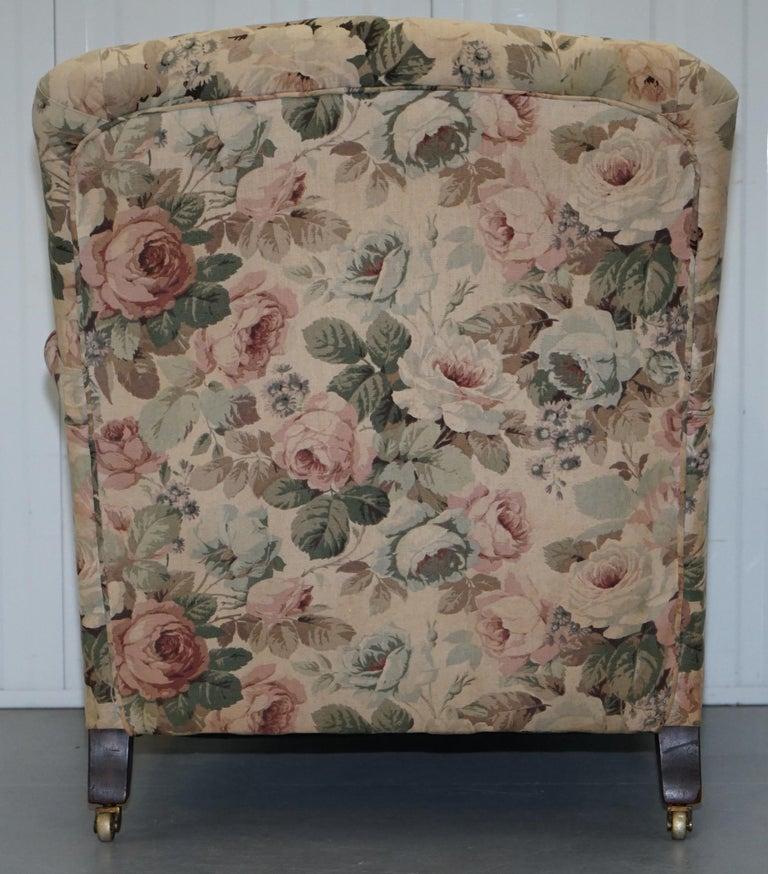 Howard & Son's Fully Stamped Original Victorian Walnut Armchair Original Castors For Sale 8