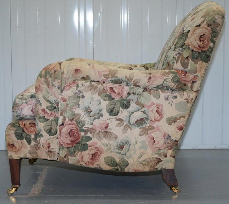 Howard & Son's Fully Stamped Original Victorian Walnut Armchair Original Castors For Sale 9