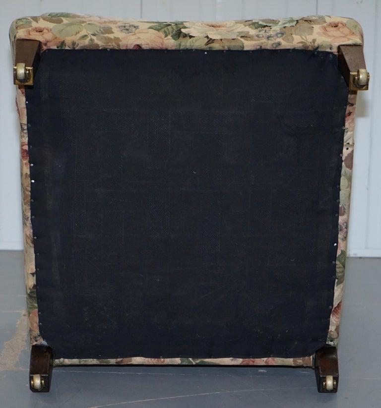 Howard & Son's Fully Stamped Original Victorian Walnut Armchair Original Castors For Sale 10