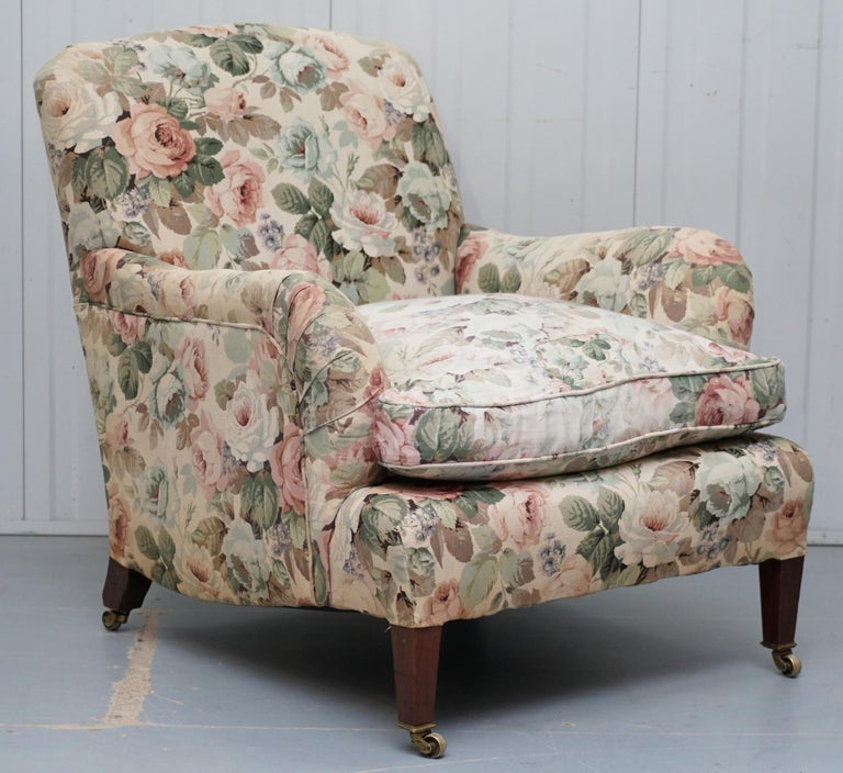 Hand-Crafted Howard & Son's Fully Stamped Original Victorian Walnut Armchair Original Castors For Sale