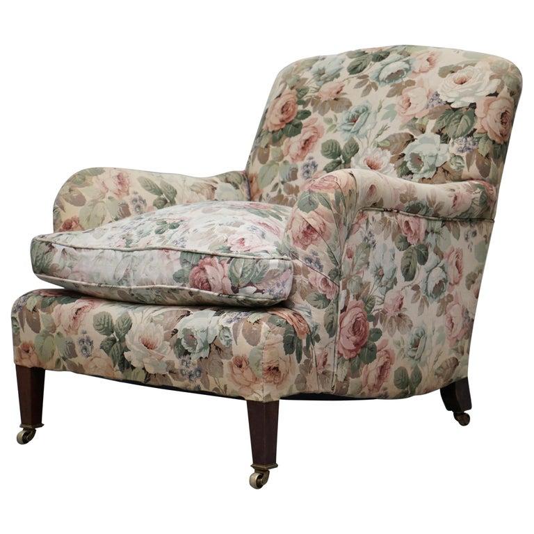 Howard & Son's Fully Stamped Original Victorian Walnut Armchair Original Castors For Sale