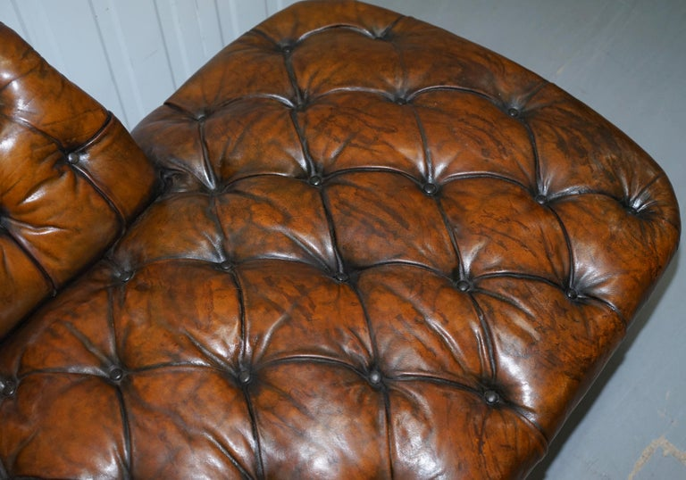 Howard & Son's Restored Brown Leather Chesterfield Chesterbed Walnut Framed For Sale 3