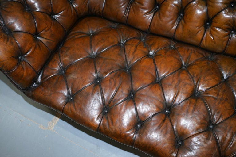 Howard & Son's Restored Brown Leather Chesterfield Chesterbed Walnut Framed For Sale 4