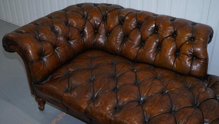 Howard & Son's Restored Brown Leather Chesterfield Chesterbed Walnut Framed For Sale 5