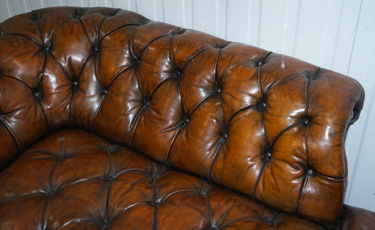 Howard & Son's Restored Brown Leather Chesterfield Chesterbed Walnut Framed For Sale 6
