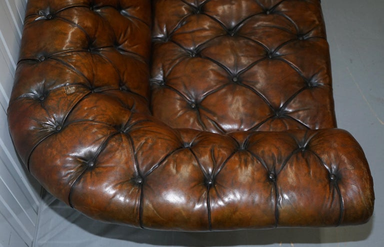 Howard & Son's Restored Brown Leather Chesterfield Chesterbed Walnut Framed For Sale 7