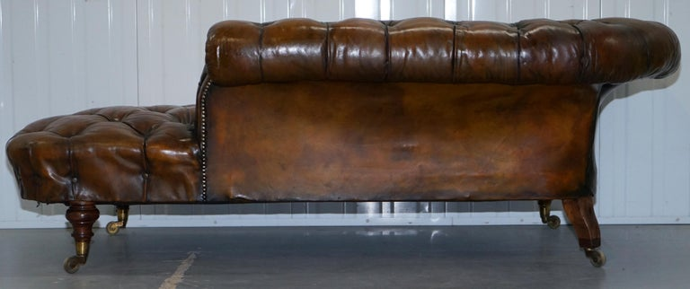Howard & Son's Restored Brown Leather Chesterfield Chesterbed Walnut Framed For Sale 8