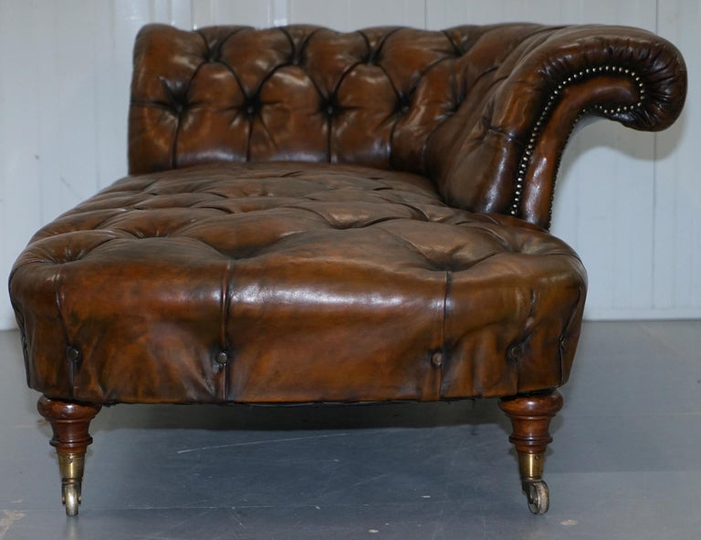 Howard & Son's Restored Brown Leather Chesterfield Chesterbed Walnut Framed For Sale 10