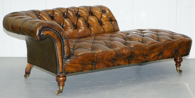 Victorian Howard & Son's Restored Brown Leather Chesterfield Chesterbed Walnut Framed For Sale