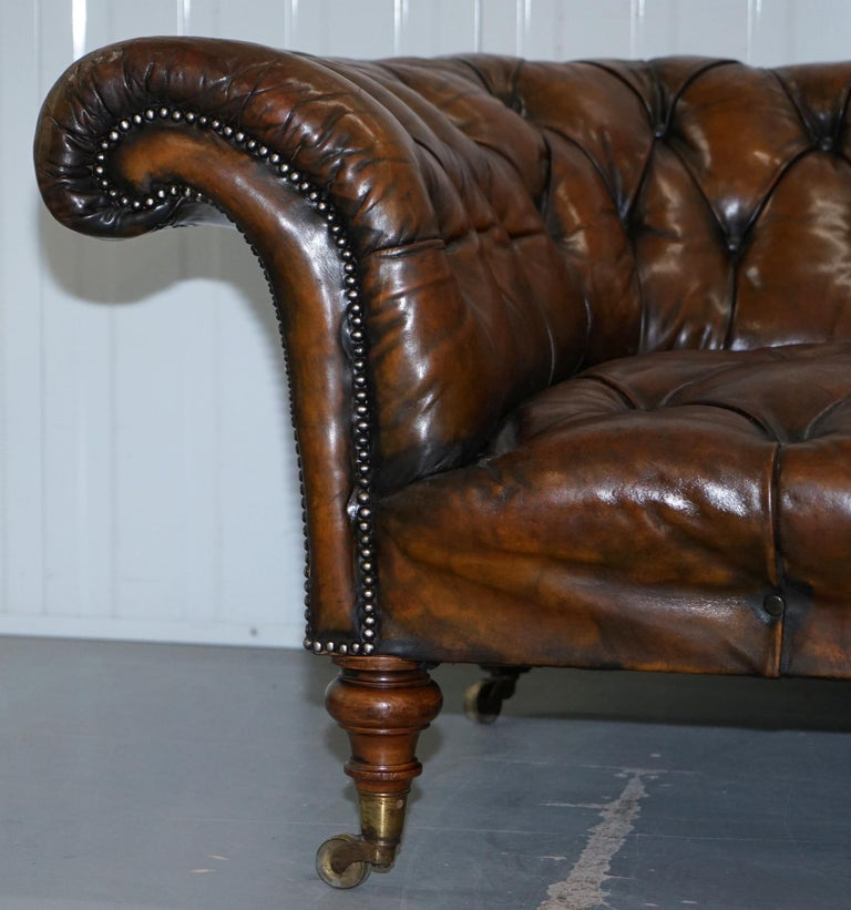 English Howard & Son's Restored Brown Leather Chesterfield Chesterbed Walnut Framed For Sale