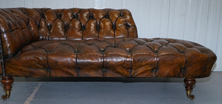 19th Century Howard & Son's Restored Brown Leather Chesterfield Chesterbed Walnut Framed For Sale