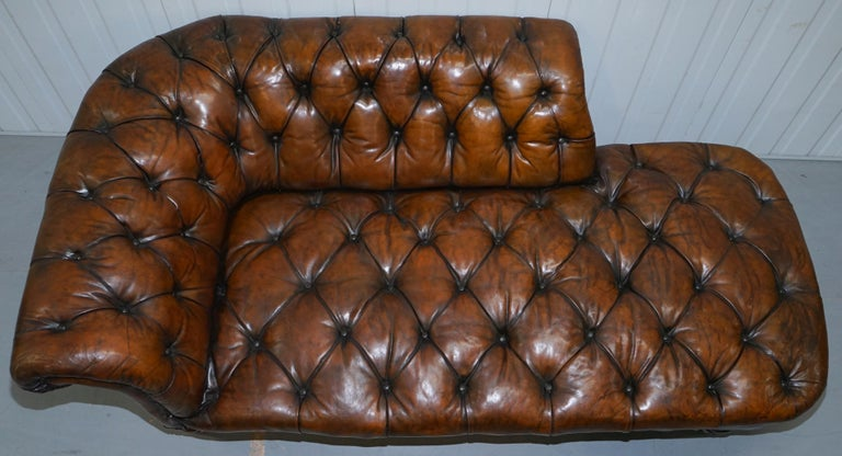 Howard & Son's Restored Brown Leather Chesterfield Chesterbed Walnut Framed For Sale 2