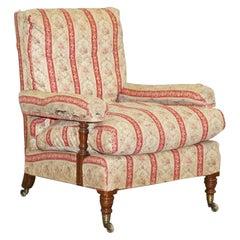 Howard & Sons's Original Factory Ticking Fabriwc Antique Victorian Open Armchair