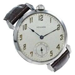 Howard Steel Art Deco Oversized Wrist Watch Conversion from 1921