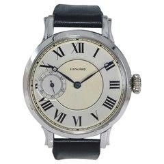 Howard Steel Oversized Art Deco Wrist Watch Manual Winding from 1921