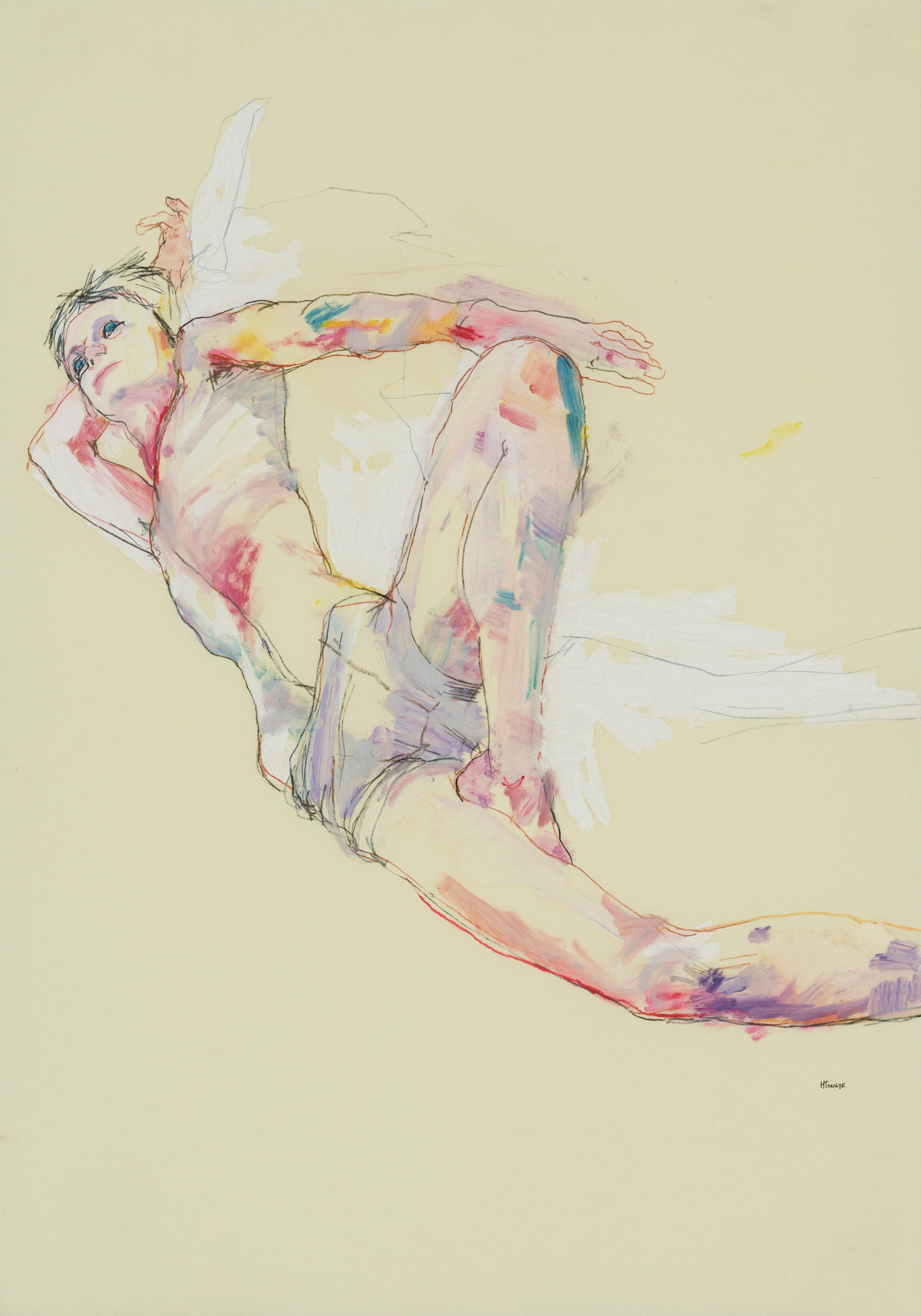 Andrew (Lying Down, Hand Behind Head), Mixed media on Pergamenata parchment