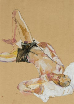 Andrew (Lying on White Pillow - Black Shorts), Mixed media on ochre parchment