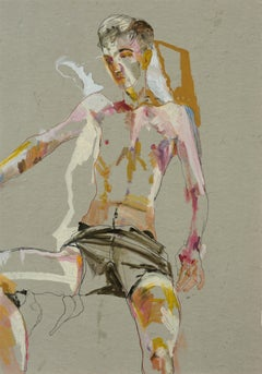 Andrew (Sitting, Arms Open - Black Shorts), Mixed media on grey parchment