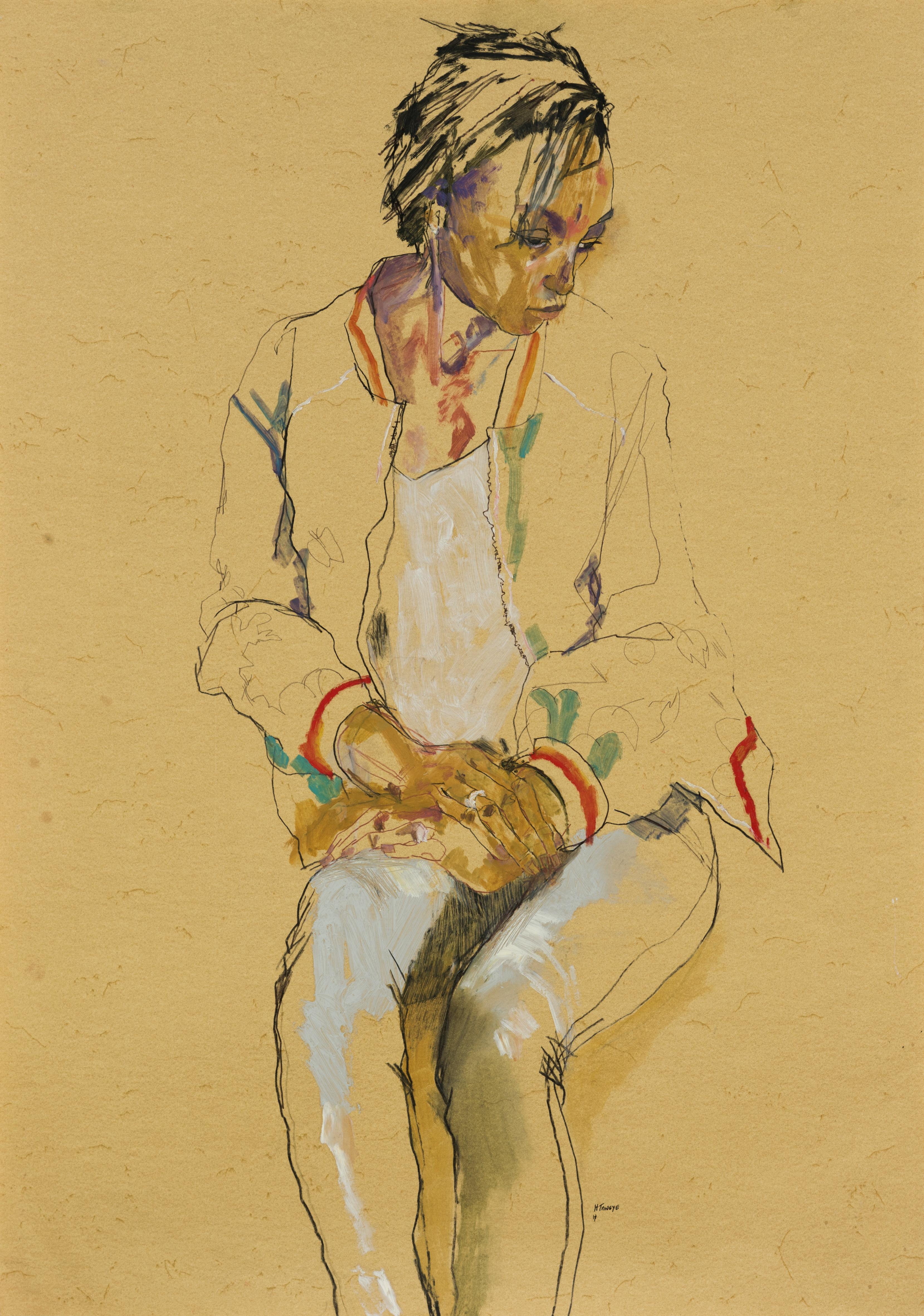 Anji (Seated, Hands in Lap, Looking Away), Mixed media on ochre paper