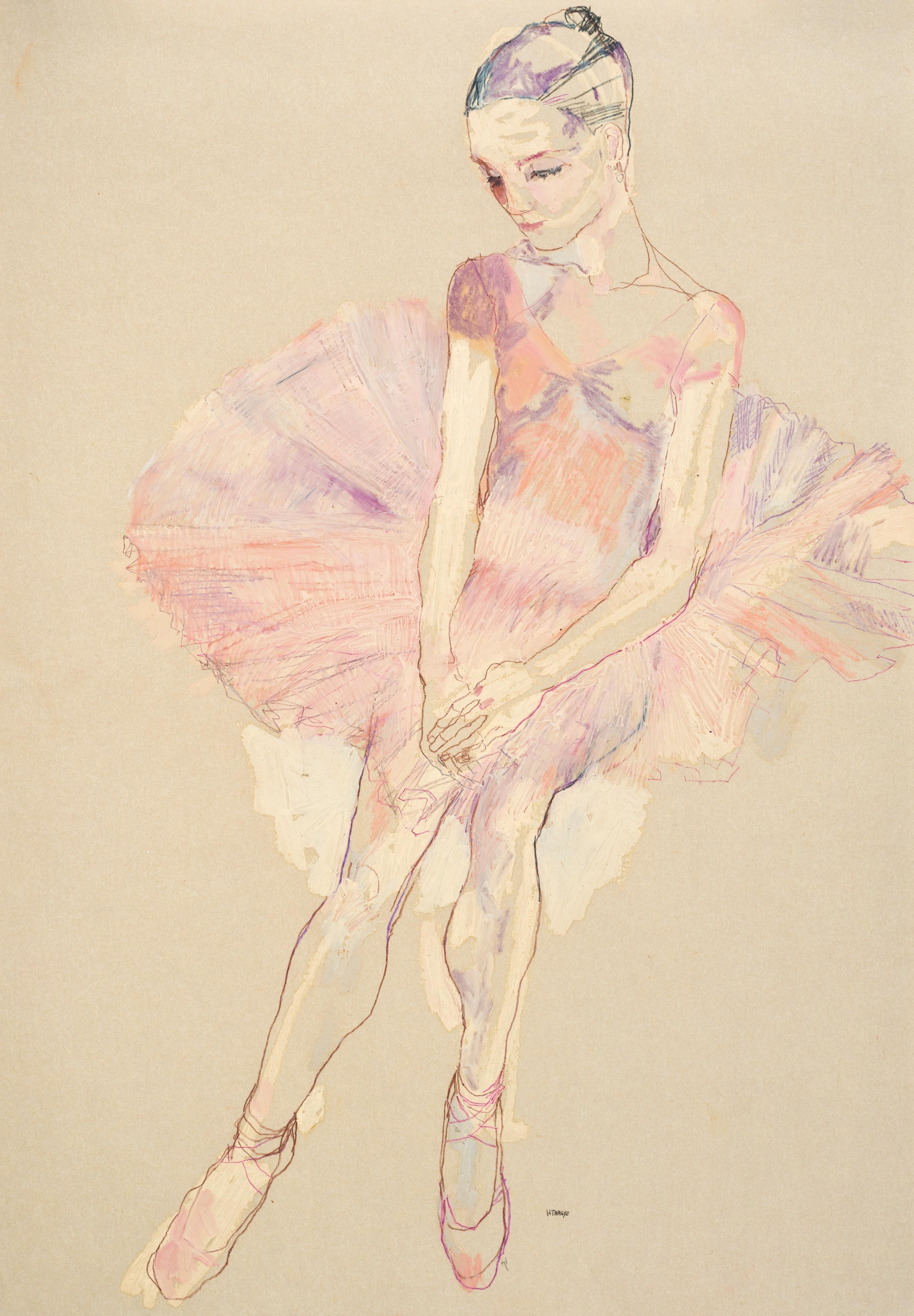 Ballet Girl (Pink Tutu), Mixed media on Pergamenata parchment