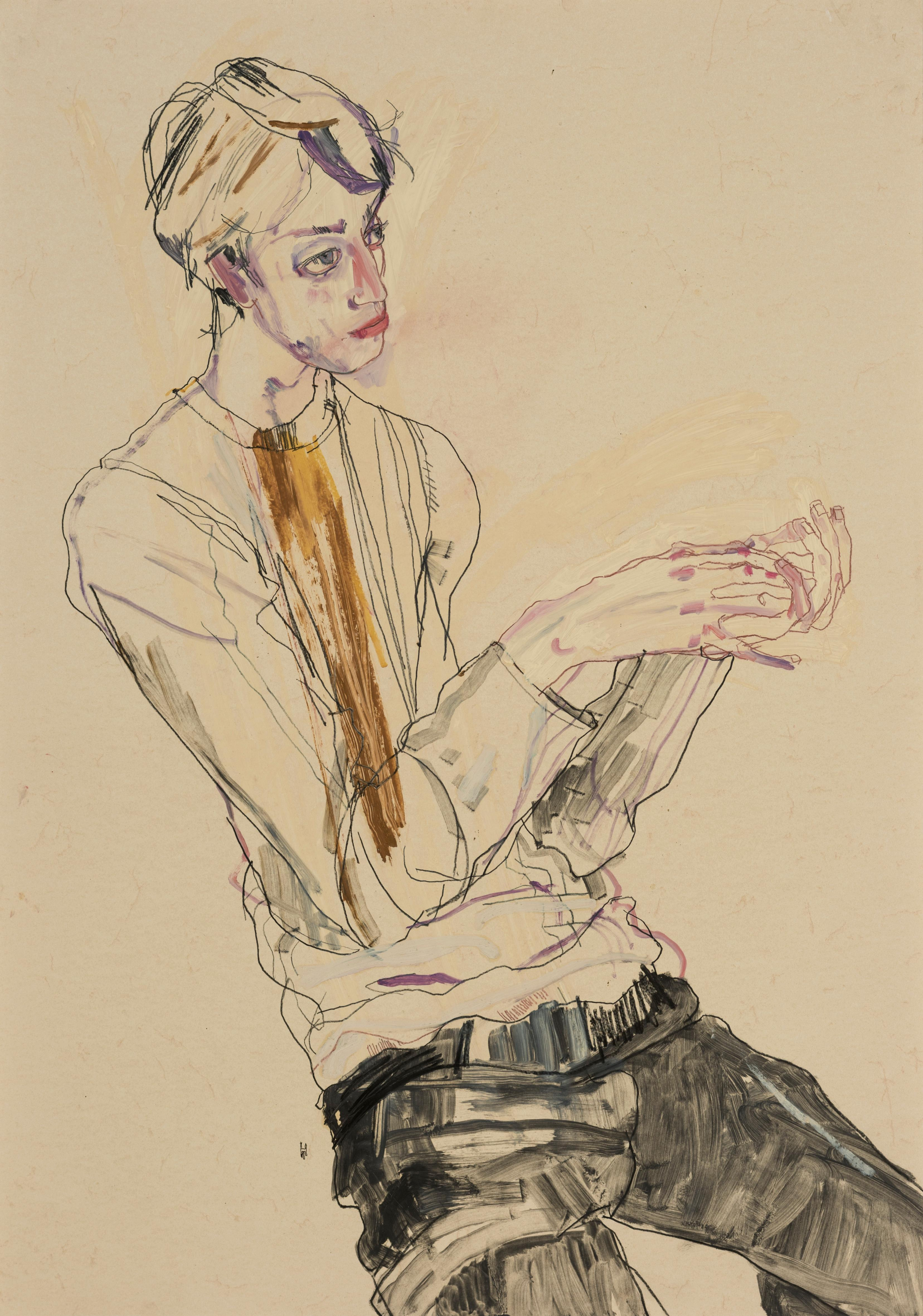 Ben Waters (Seated, Hand Holding), Mixed media on Pergamenata parchment