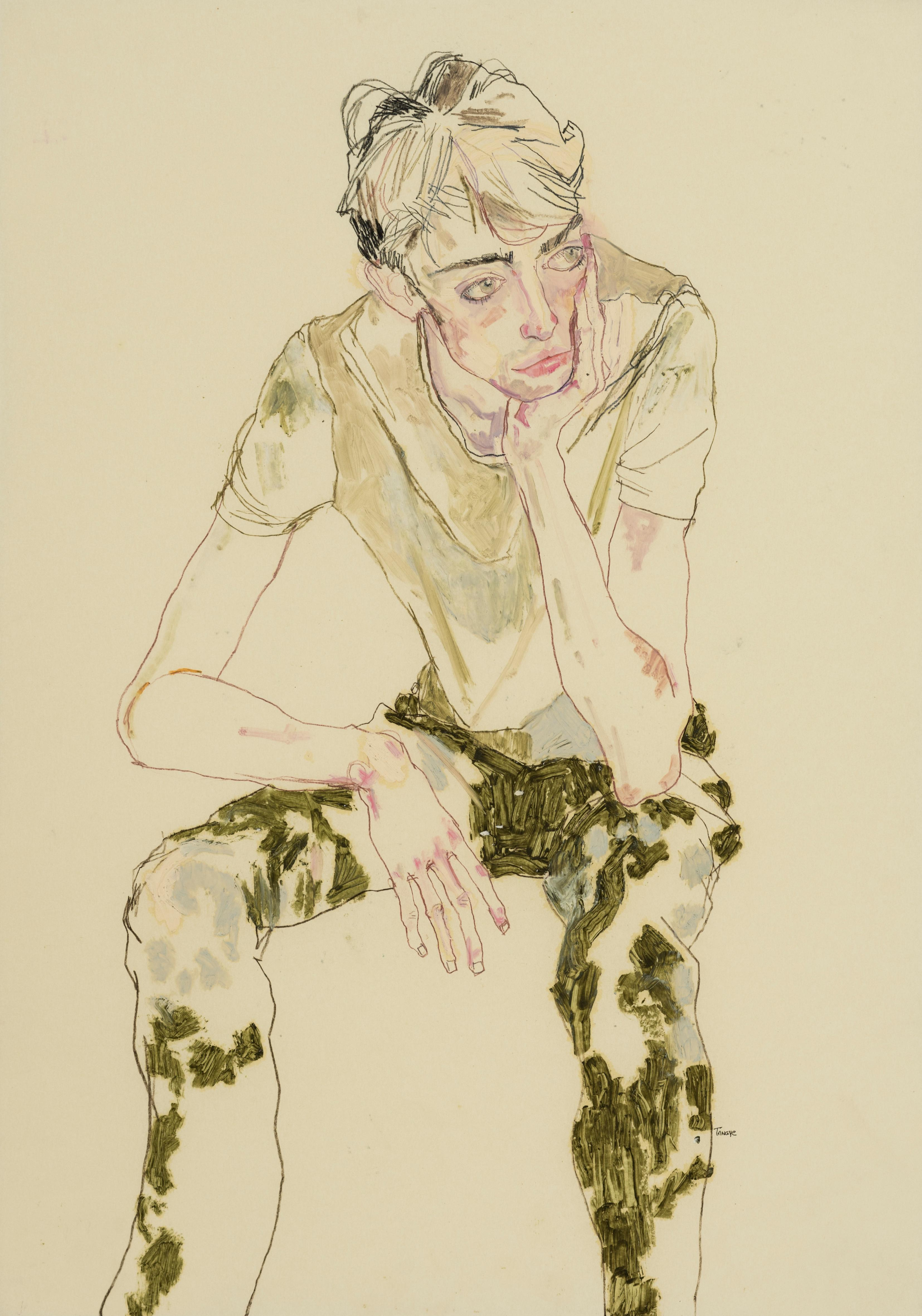 Ben Waters (Seated, Holding Head), Mixed media on Pergamenata parchment