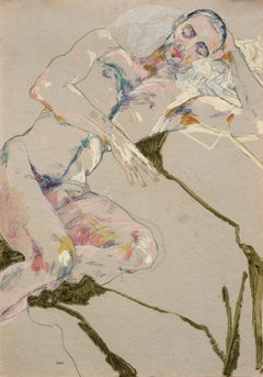 Craig (Nude on Green), Mixed media on grey parchment paper