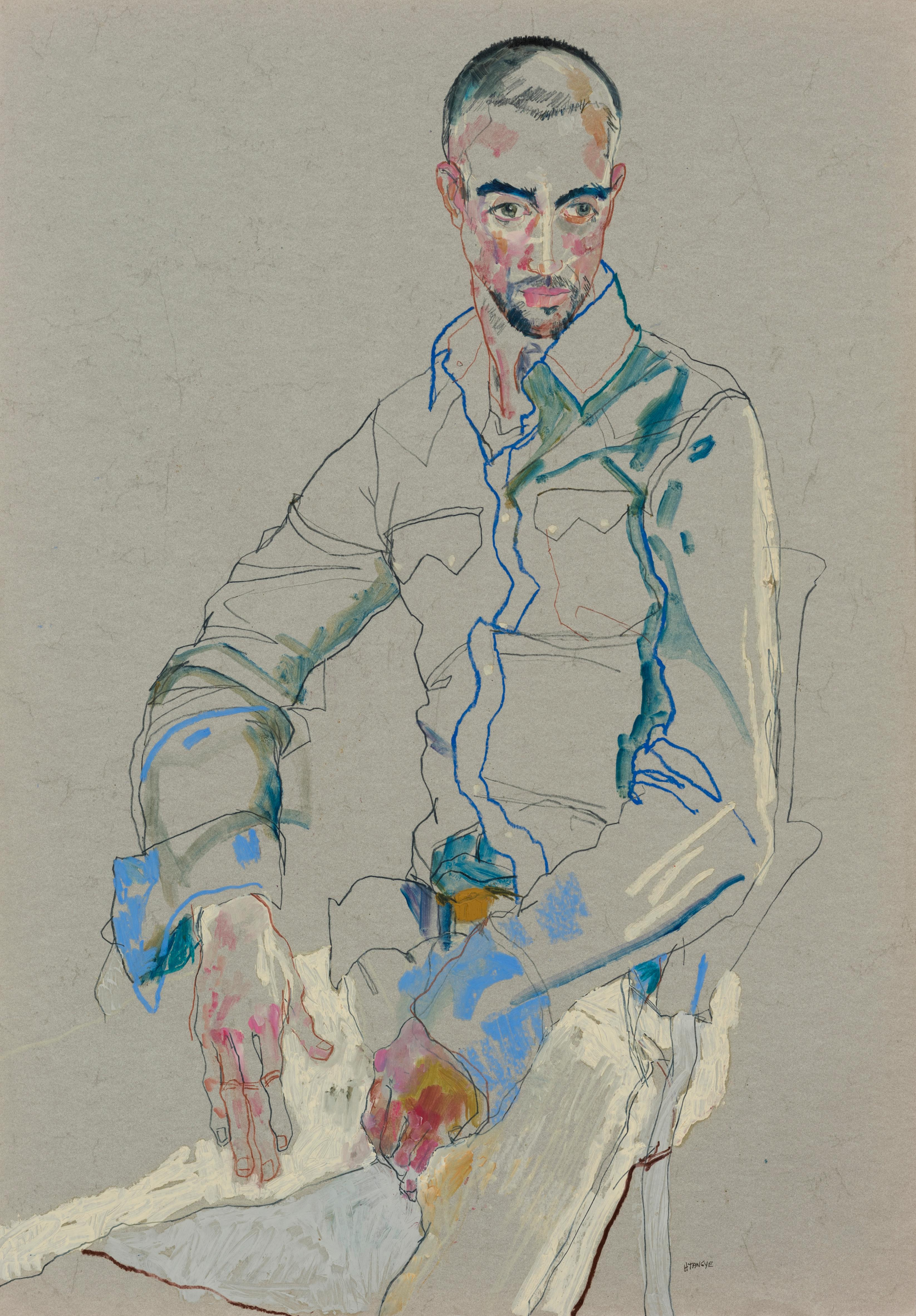 Craig (Richard's Friend - Sitting - Blue Jacket), Mixed media on grey parchment