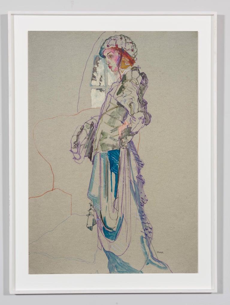 Elodie (Galliano Paris - Beret), Mixed Media on grey paper - Painting by Howard Tangye