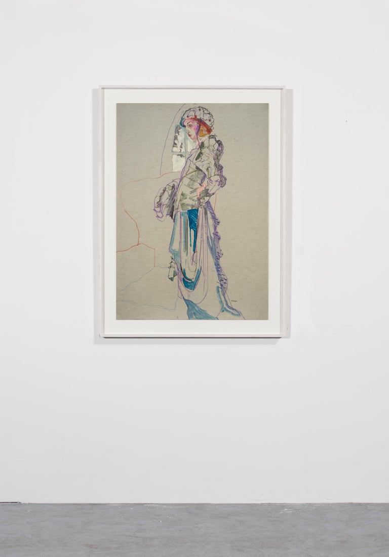 Elodie (Galliano Paris - Beret), Mixed Media on grey paper - Contemporary Painting by Howard Tangye
